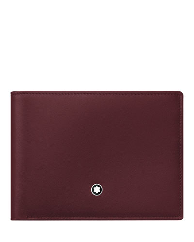 Leather Bifold Wallet, Burgundy