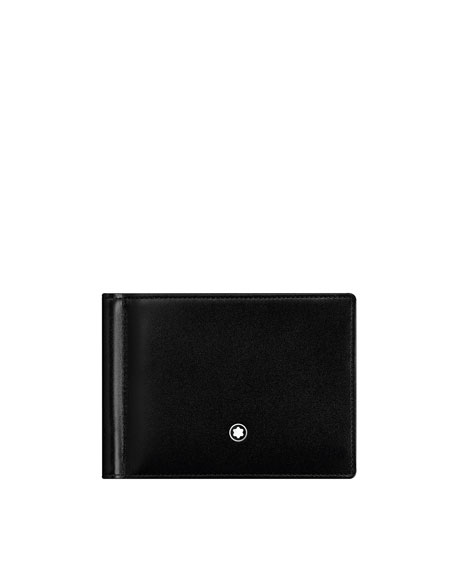 Montblanc Leather Bifold Wallet with Money Clip, Black