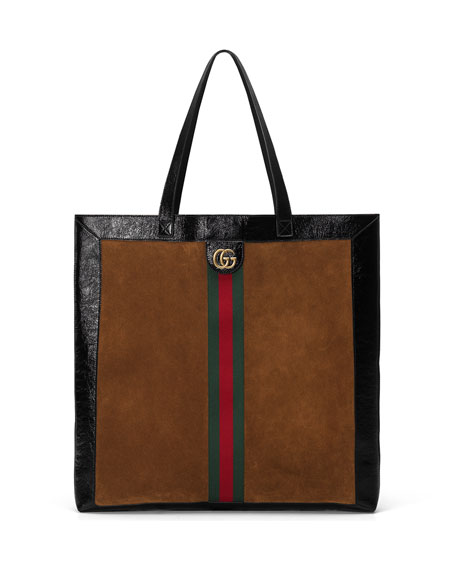 Gucci Web-Trim Suede Double-G Tote Bag