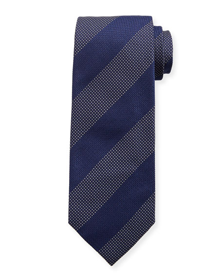 TOM FORD Wide Textured Stripe Silk Tie