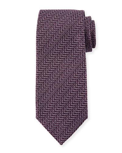 Zigzag Herringbone Silk Tie