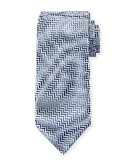 Zigzag Herringbone Silk Tie, Light Blue