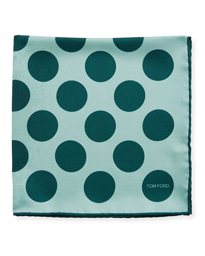 Dotted Silk Pocket Square, Medium Green