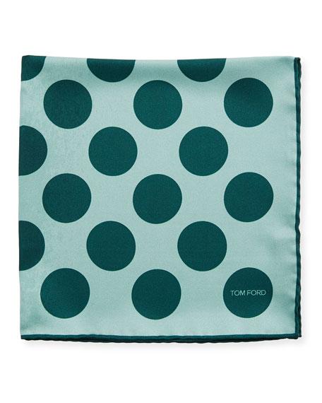 Dotted Silk Pocket Square, Medium Green