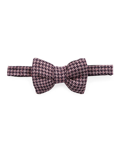 Classic Houndstooth Bow Tie, Dark Purple