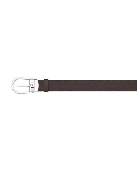 Horseshoe-Buckle Reversible Leather Belt