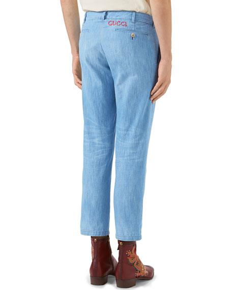 Stone-Bleached Denim Chino Pants