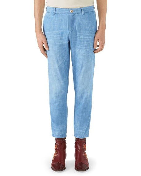 Gucci Stone-Bleached Denim Chino Pants