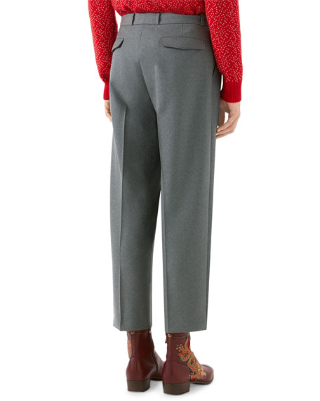 Military Wide-Leg Wool Pants