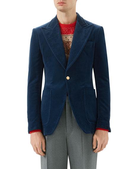 Velvet Formal One-Button Jacket