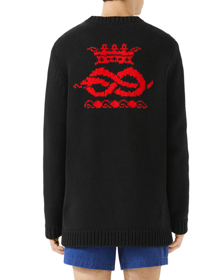 Typographic Intarsia-Knit Sweater