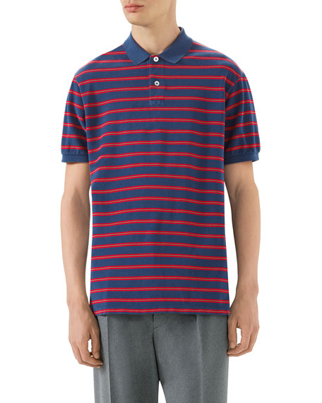 Oversized Striped Polo Shirt