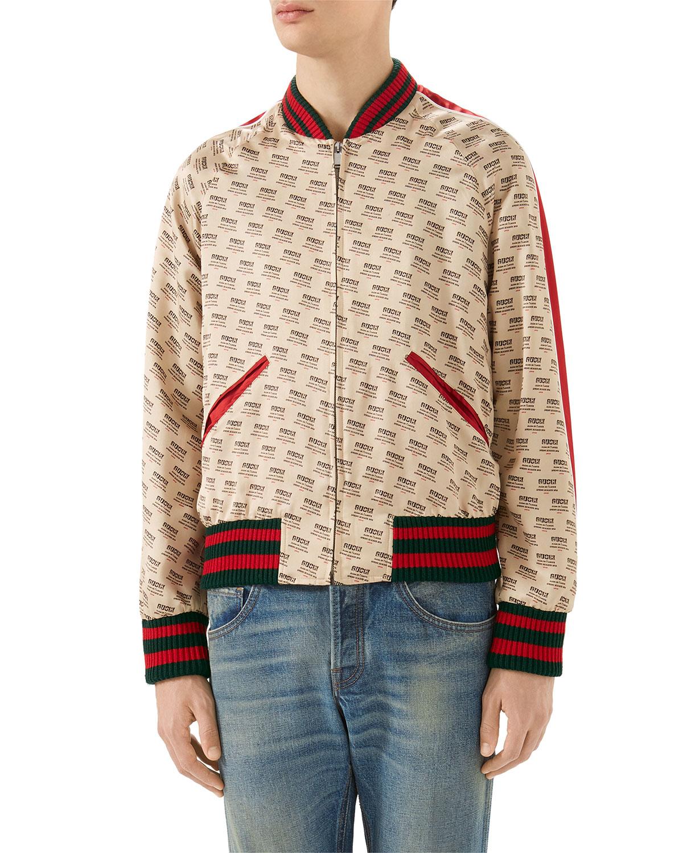 a8167bbacb29 Gucci Logo-Print Blouson Bomber Jacket