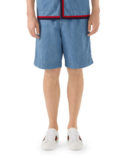 Belted Denim Bermuda Shorts
