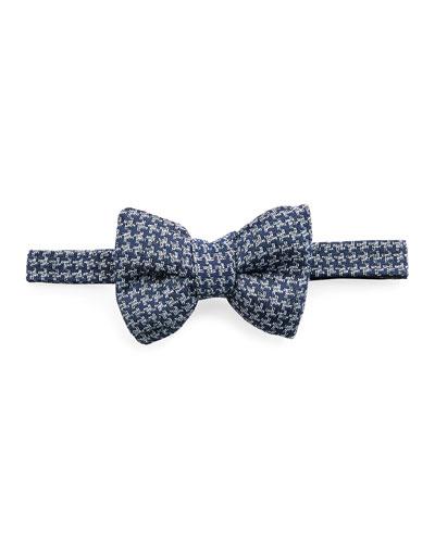 Classic Houndstooth Bow Tie, Medium Blue