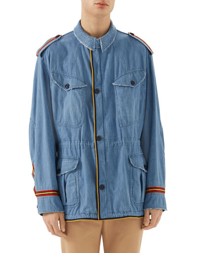 Guccy Striped-Trim Denim Parka Jacket
