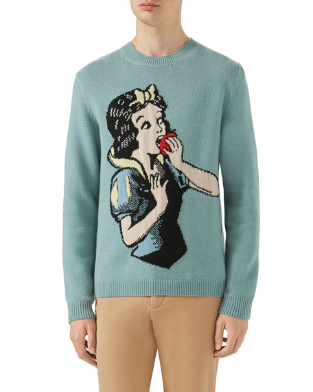 Snow White Intarsia-Knit Wool Sweater