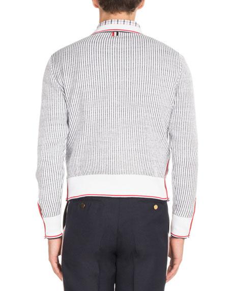 Seersucker Jacquard Button-Front Cardigan