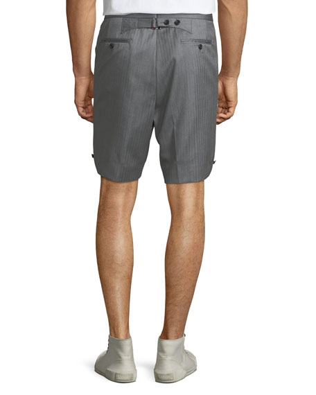 Men's Striped Wool Back-Strap Shorts