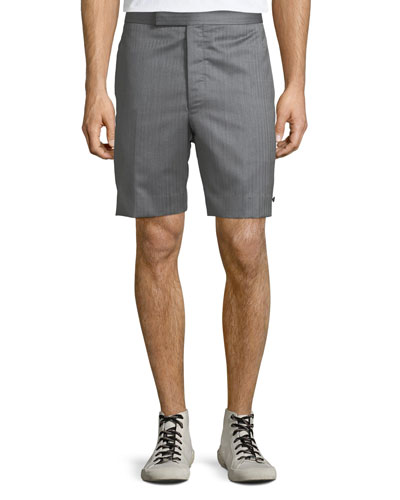 Men's Striped Wool Back-Strap Shorts