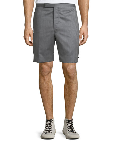 Thom Browne Men's Striped Wool Back-Strap Shorts