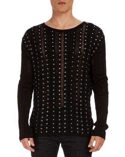 Studded Stripe Cotton Sweater