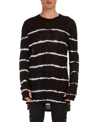 Tie-Dye Striped Linen Sweater
