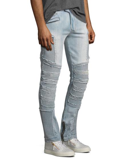 Distressed Skinny Light-Wash Moto Jeans