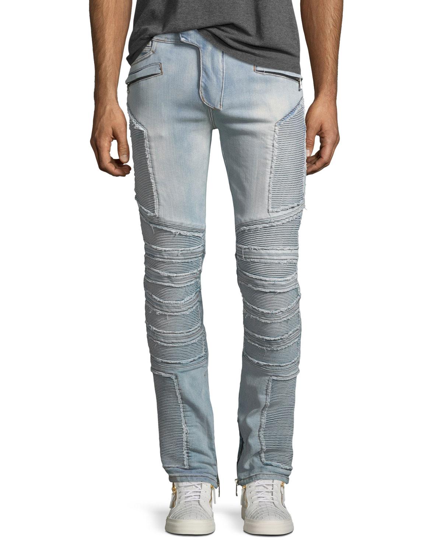 36467d90 Balmain Distressed Skinny Light-Wash Moto Jeans   Neiman Marcus