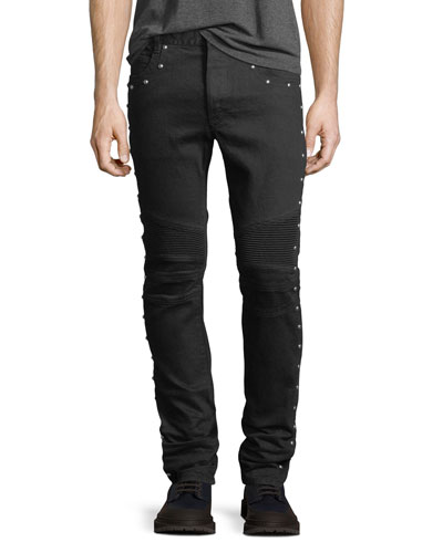 6-Pocket Multi-Rivet Skinny Jeans