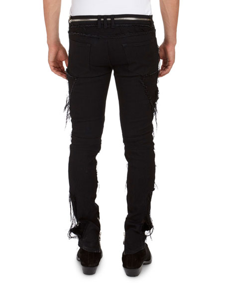 Zip-Pocket Distressed Slim Jeans