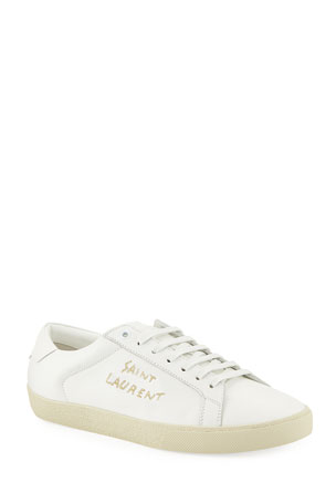 Saint Laurent Men's Court Classic Logo-Stitching Leather Low-Top Sneakers