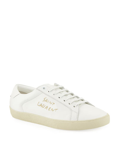 Men's Court Classic Logo-Stitching Leather Low-Top Sneaker