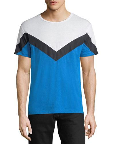 Chevron-Pattern Cotton T-Shirt