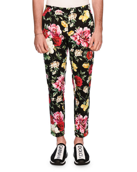 Dolce & Gabbana Floral-Print Skinny Twill Pants