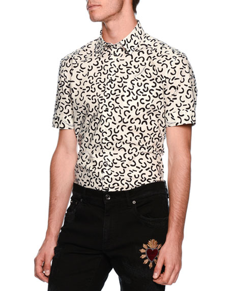Dolce & Gabbana Geometric-Pattern Short-Sleeve Sport Shirt