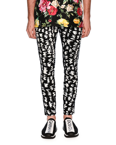 Dolce & Gabbana Graphic-Pattern Skinny Denim Jeans