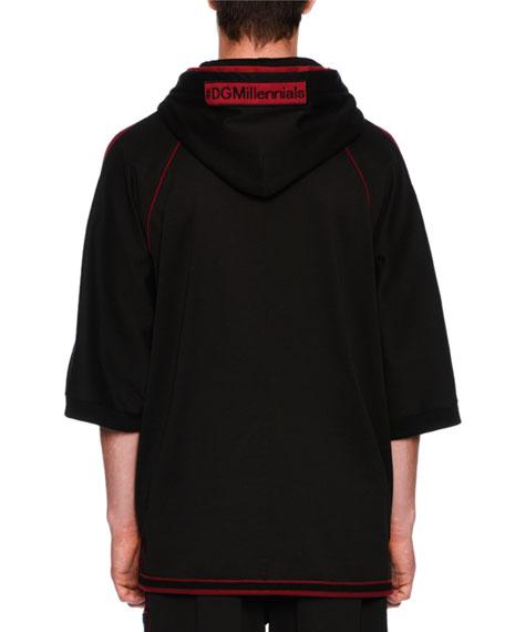 Patched Half-Sleeve Zip-Front Hoodie