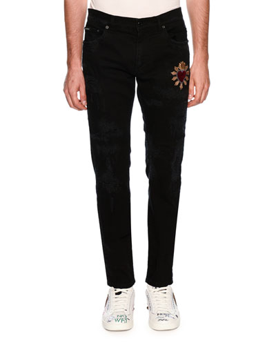 Patched Slim-Fit Denim Jeans
