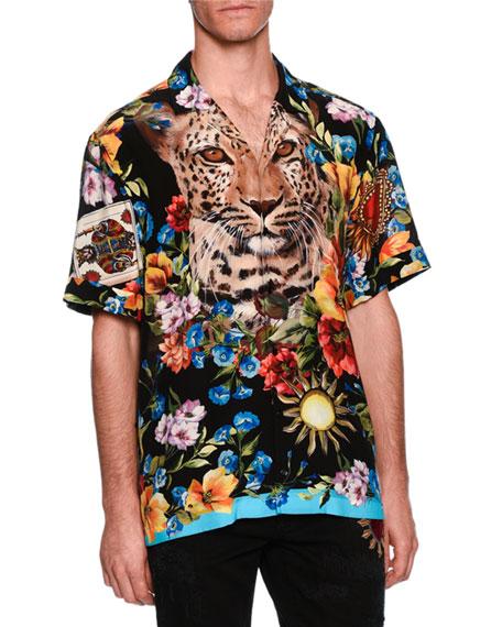 Dolce & Gabbana Graphic Silk Twill Camp Shirt
