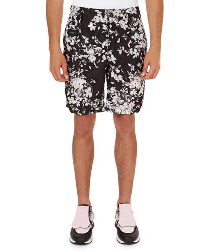 Hydrangea-Print Nylon Bermuda Shorts