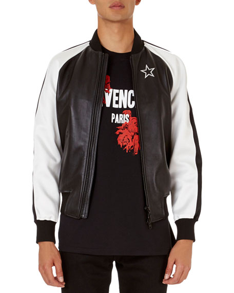 Givenchy Lambskin Bomber Jacket with Contrast Sleeves