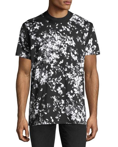 Hydrangea-Print T-Shirt