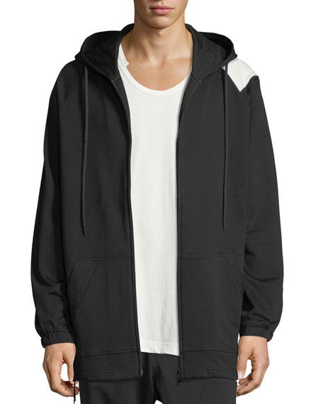 Bold Striped Zip-Front Hoodie