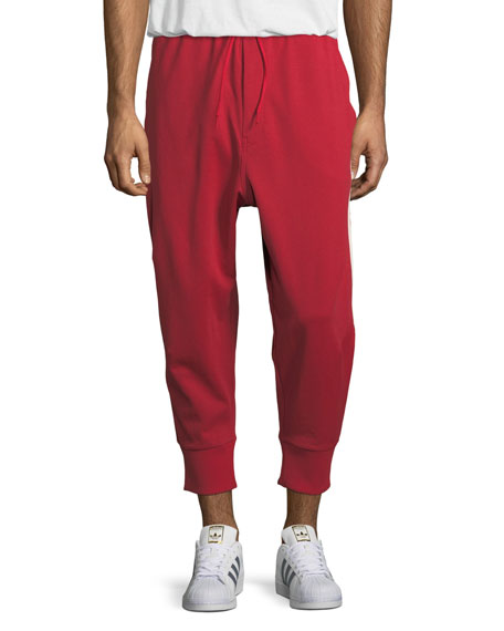 3-Stripe French Terry Track Pants, Red
