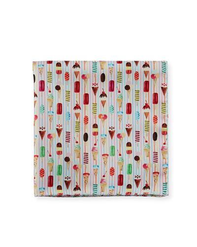 Ice Cream-Print Silk Pocket Square