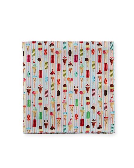 Ice Cream-Print Silk Pocket Square