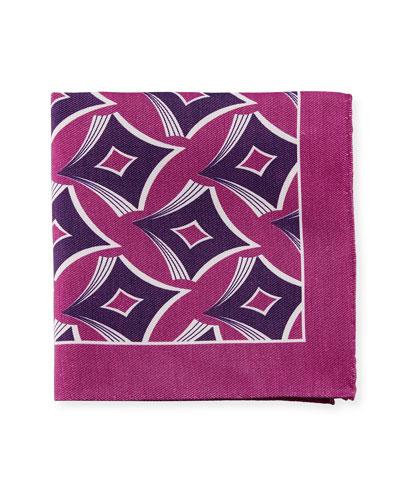 Geometric-Print Linen-Blend Pocket Square