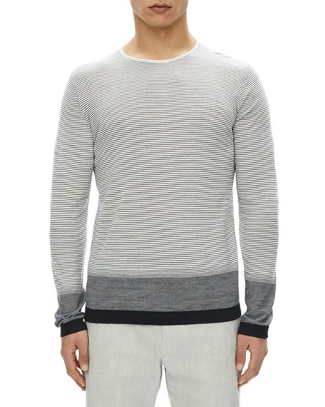 Theory Cyar Striped Fine-Gauge Merino Wool Sweater