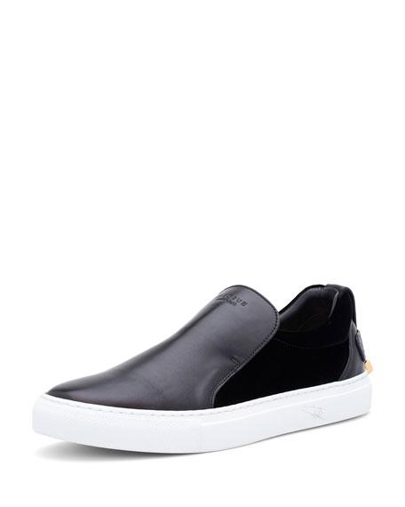 Men's 40 mm Quincy Leather & Velvet Slip-On Sneakers